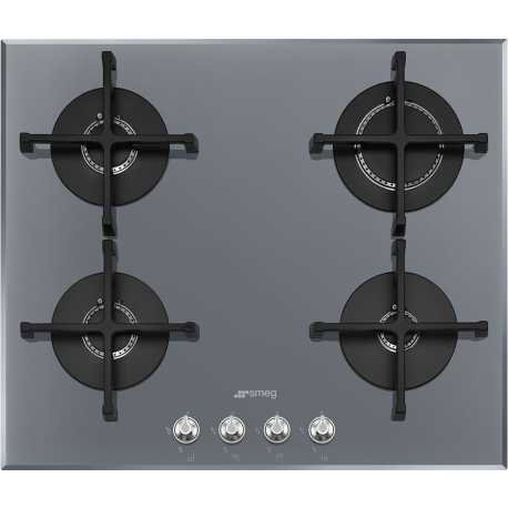 SMEG GAS HOB PV164S2 SILVER GLASS BASE