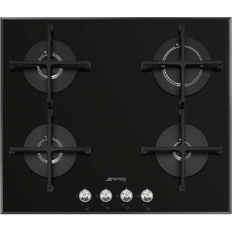 SMEG GAS HOB PV164N2 BLACK GLASS BASE