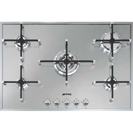 SMEG GAS HOB PX7502 STAINLESS STEEL BASE - 74 CM