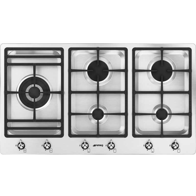 smeg gaskochfeld ps906 5 edelstahl 90 cm fab appliances. Black Bedroom Furniture Sets. Home Design Ideas