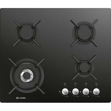 SMALVIC GAS HOB PC-MF60 3GTC VS BLACK GLASS - 60 CM