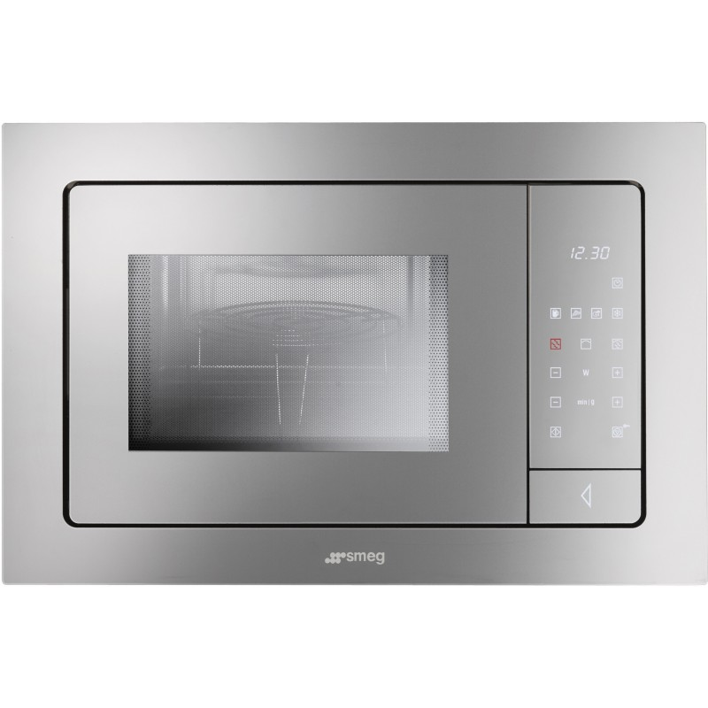 smeg microwave oven with electric grill fme120 silver glass 60 cm. Black Bedroom Furniture Sets. Home Design Ideas