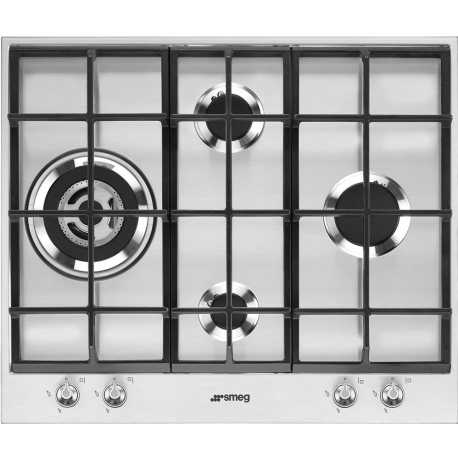 SMEG GAS HOB PX164L STAINLESS STEEL AESTHETIC LINEA