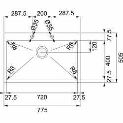 FRANKE PLANAR PEX 210-78 TL - 77x50 KITCHEN SINK 1 BOWL BRUSHED STAINLESS STEEL