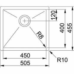 FRANKE PLANAR 8 PEX 210-51 -50x45 KITCHEN SINK 1 BOWL BRUSHED STAINLESS STEEL