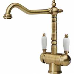 FRANKE OLD ENGLAND TWO HANDLE SINGLE LEVER SINK MIXER TAP BRONZE