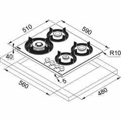 TABLE DE CUISSON FRANKE MARIS FREE FHMF 604 3G DC C INOX BRILLANT 60 CM