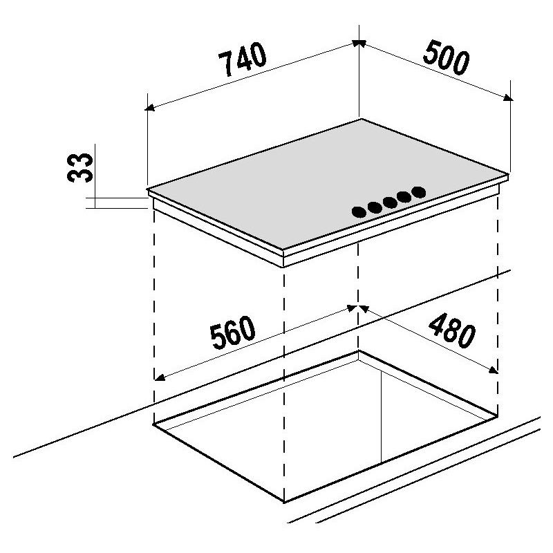 schock gaskochfeld silver pc75av edelstahl 75 cm fab appliances. Black Bedroom Furniture Sets. Home Design Ideas