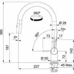 FRANKE ACTIVE NEO DOCCIA METALLIC ROBINET MITIGEUR MONOCOMMANDE AVEC DOUCHETTE SMOKED SHINY